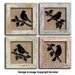 Raised Bird Silhouette Pattern Wall Art