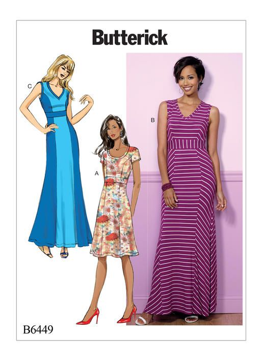 Butterick knit dress sewing pattern in short or maxi lengths. B6449 ...