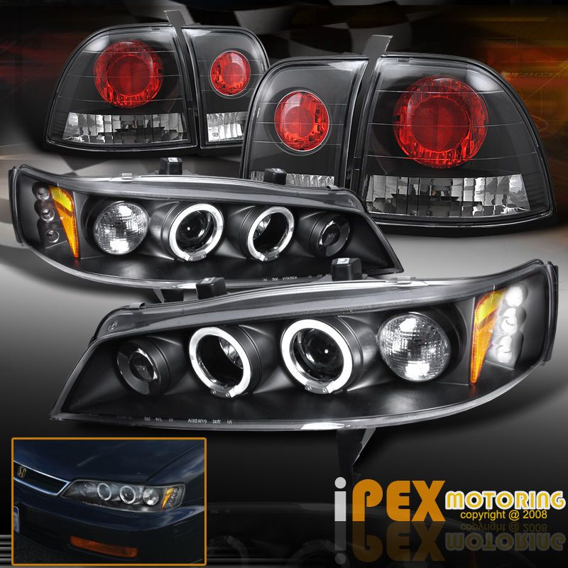 For 96 97 Honda Accord Halos Projector Led Headlights Jdm Black Tail Lights Honda Accord Honda Accord Custom Led Headlights