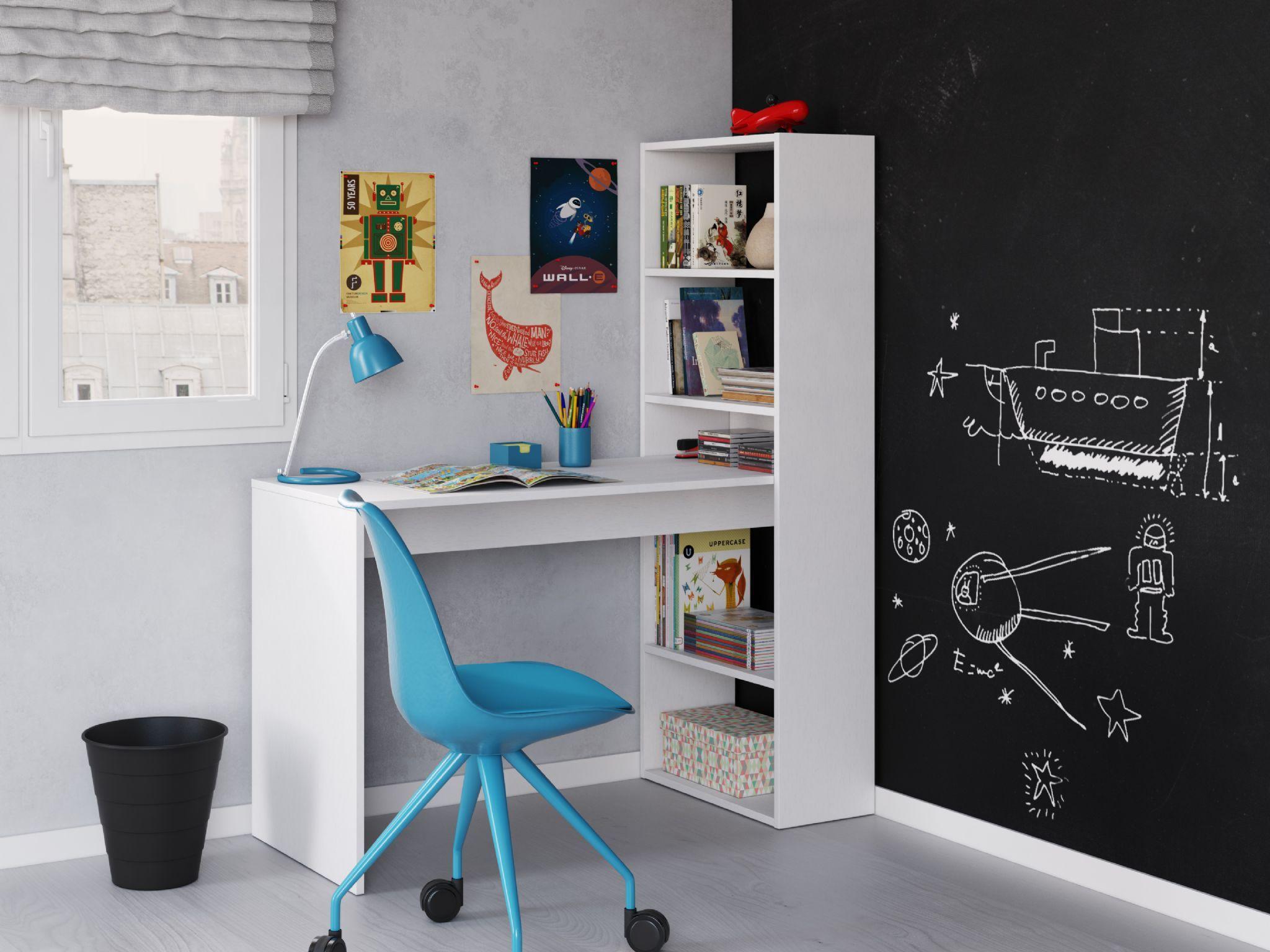 Amalfi White bo puter Desk Table with Bookshelf 2564 in 2018
