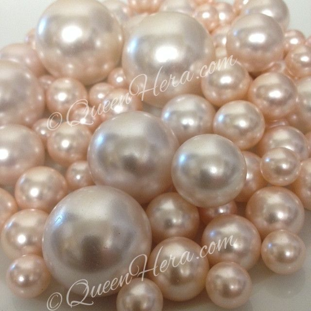 Blush Pink Pearls Decorative Jumbo Vase Filler Pearls Floating