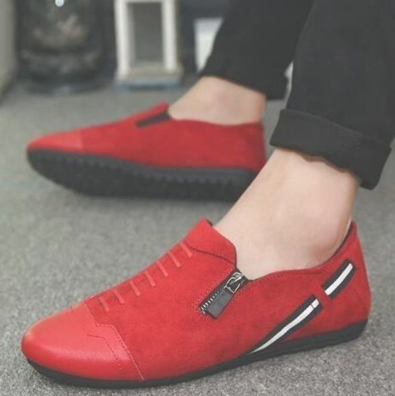 POPIGIST 2018 New fashion comfortable men Red casual shoes Men Flats Shoes Moccasins Men Loafers