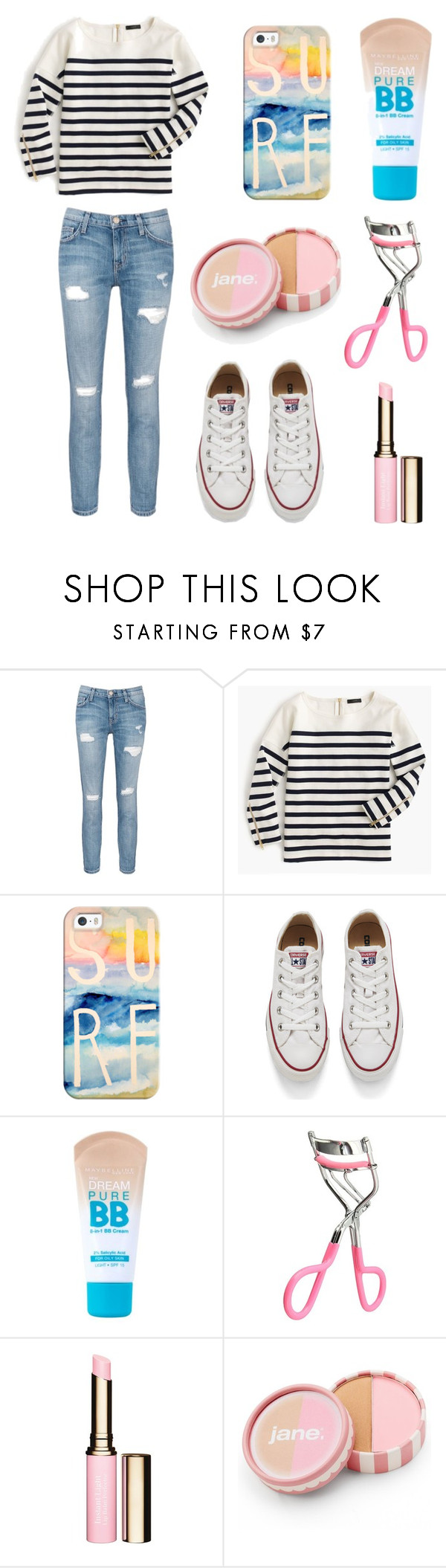 """""""Untitled #37"""" by josie1289 ❤ liked on Polyvore featuring Current/Elliott, J.Crew, Casetify, Converse, Maybelline, Clarins and jane"""