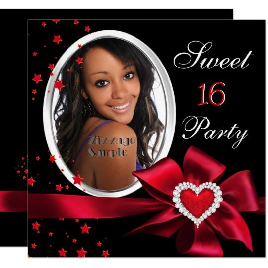 Teal Blue Sweet 16 Birthday Party Diamond Photo Invitation | Zazzle.com #sweet16birthdayparty