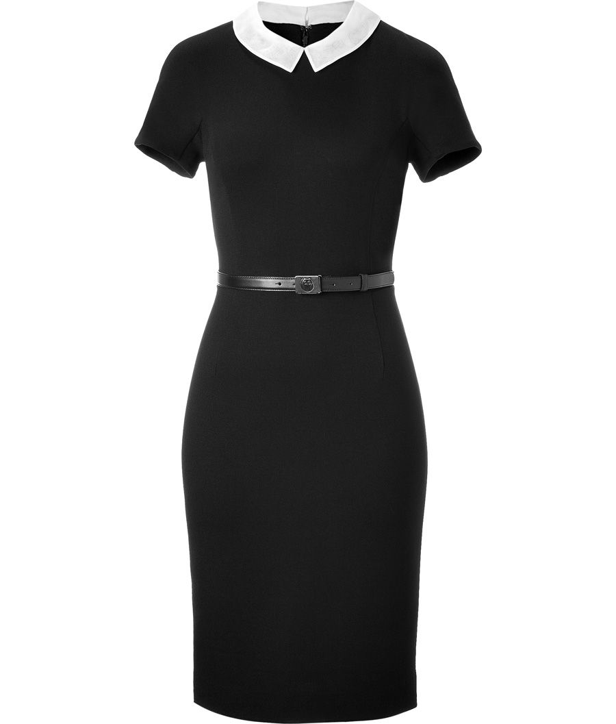 jason wu black belted jersey dress with peter pan collar GORGEOUS