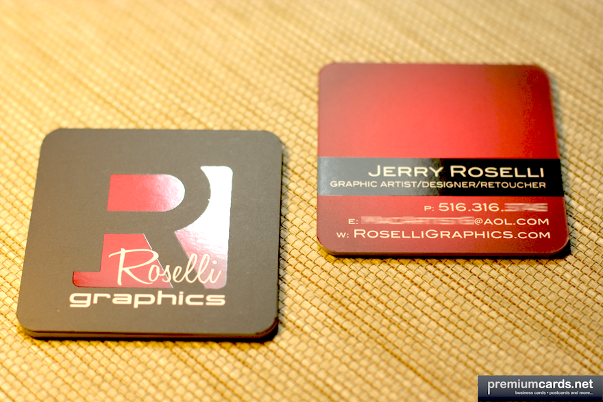 Roselli Graphics Square Business Cards printed at PremiumCards.net ...