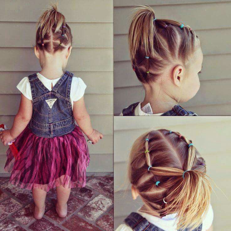 Rainbow Of Rubber Bands Ponytail Hair Girl Hairstyles Toddler