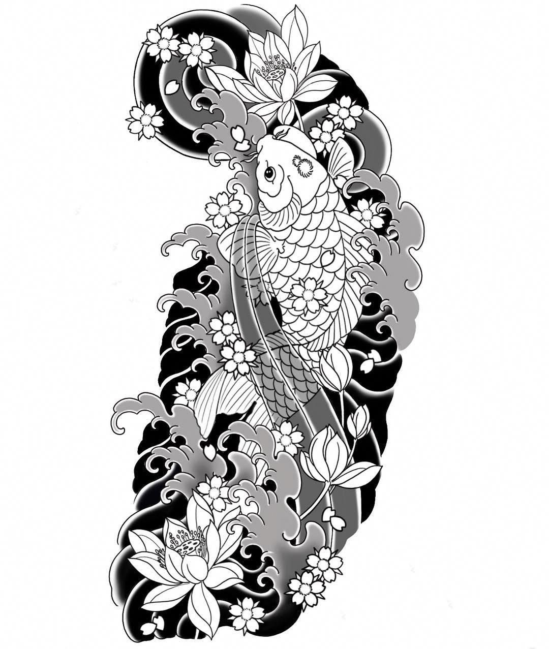 I Truly Appreciate The Hues Outlines And Fine Detail This Is An Amazing Layout If You Want Koi Tattoo Design Koi Tattoo Sleeve Half Sleeve Tattoos Designs