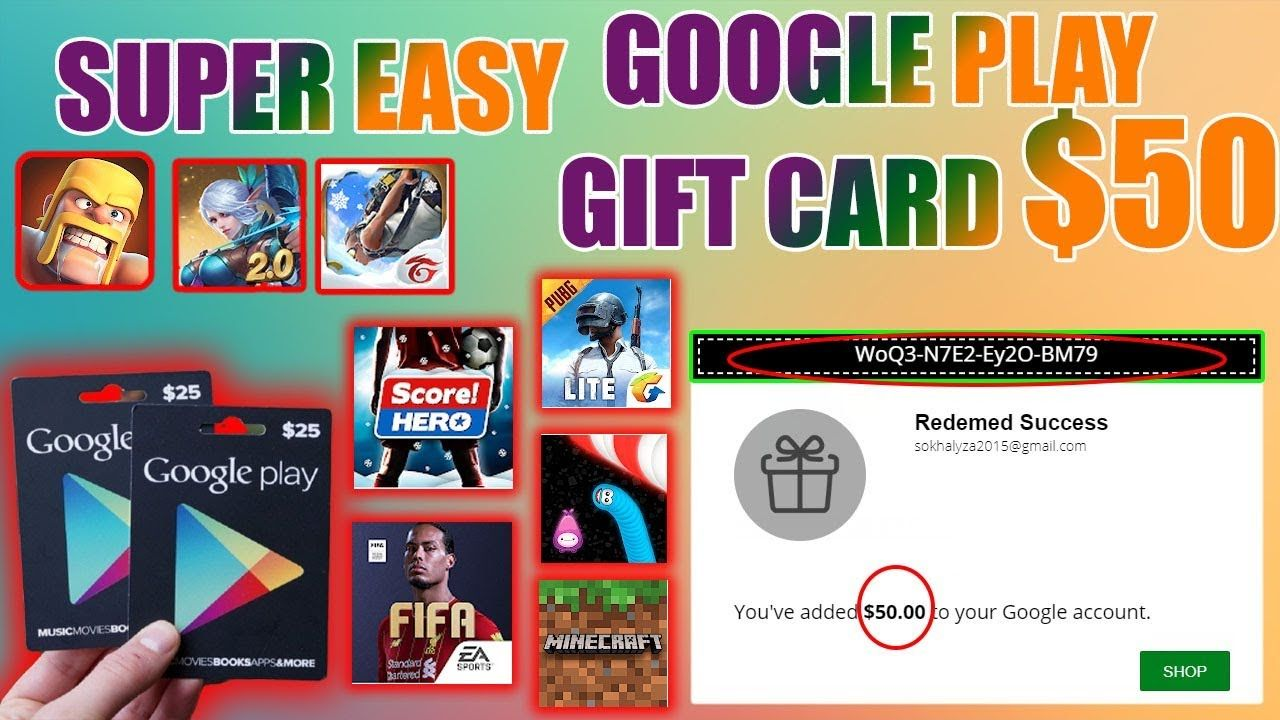 SUPER EASY TO GET FREE GOGLE PLAY GIFT CARD 50 2020 in