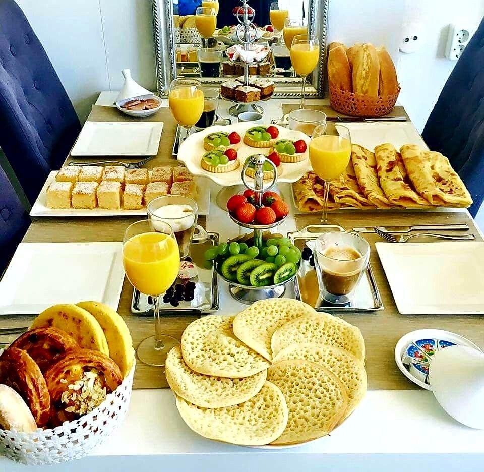Table marocaine de goûter   Petit déjeuner marocain, Recette de ...