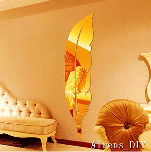 Alrens_DIYTM 6pcs1 Feather Mirror Surface Crystal Wall Stickers DIY Acrylic 3D Home Decal Living Room Murals Wall Paper Decor adesivo de parede SilverGold Gold >>> Want to know more, click on the image.