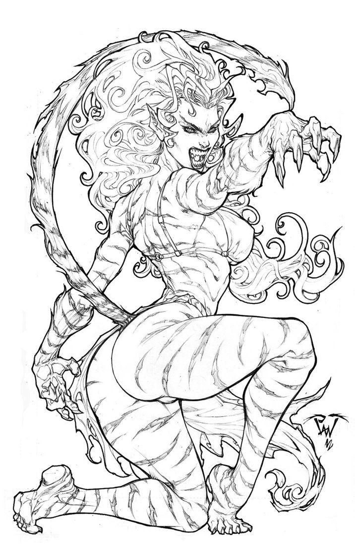 From Marvel Universe Tigra By Pant On Deviantart Kleurplaten Kleuren Tekenen
