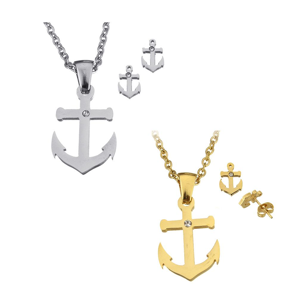 Stainless steel anchor pendant necklace sets women men jewelry gold