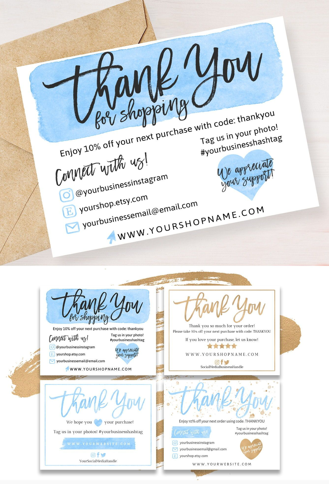 4 Diy Templates Thank You For Your Order Card Blue Gold Etsy Thank You Card Template Business Thank You Notes Business Thank You