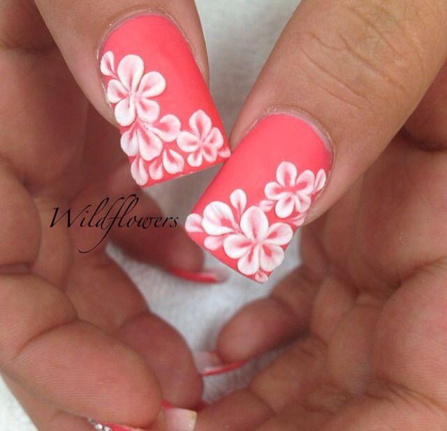 Coral nails with Hawaiian flowers - Coral Nails With Hawaiian Flowers Nails Pinterest Coral Nails