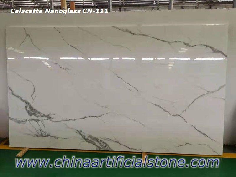 Factory Price Calacatta Look Nano Marble Glass Stone Slabs Calacatta Stone Slab Inkjet Printing