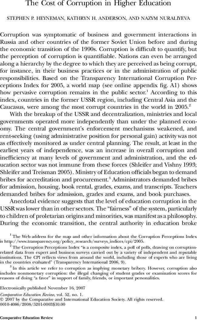 The Cost Of Corruption In Higher Education Comparative Review Vol 52 No 1 Essay Outline Argumentative On Politic And