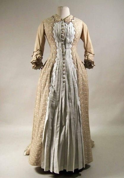 Light Brown Cotton Dress Embroidered In Coloured Cotton In Pastel Shades 1876 1878 Manchester Art Gallery Historical Dresses Edwardian Fashion Fashion