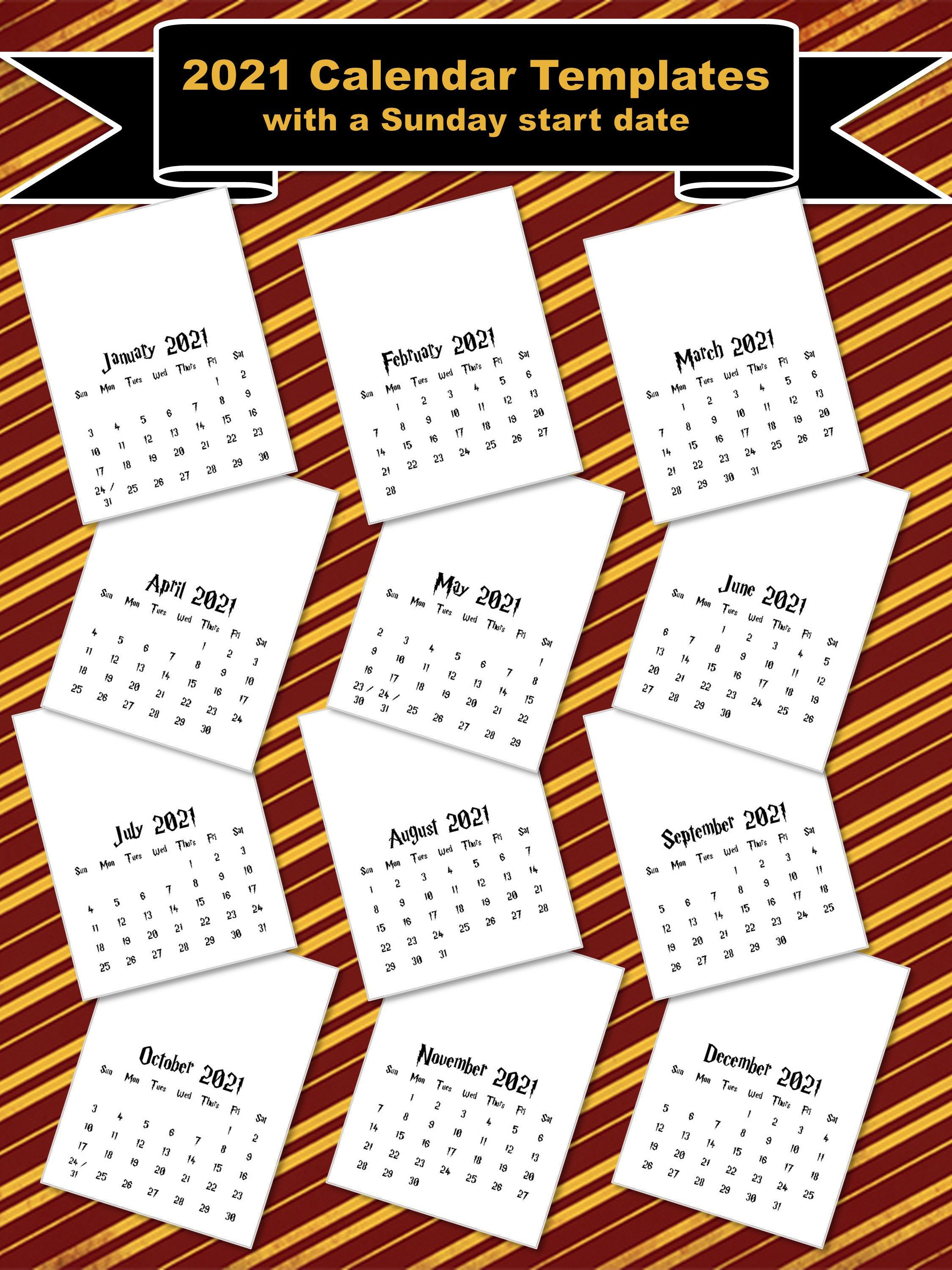 2021 Calendar Templates With Sunday Start 8x11 Etsy In 2020 2020 Calendar Template Calendar Template Calendar