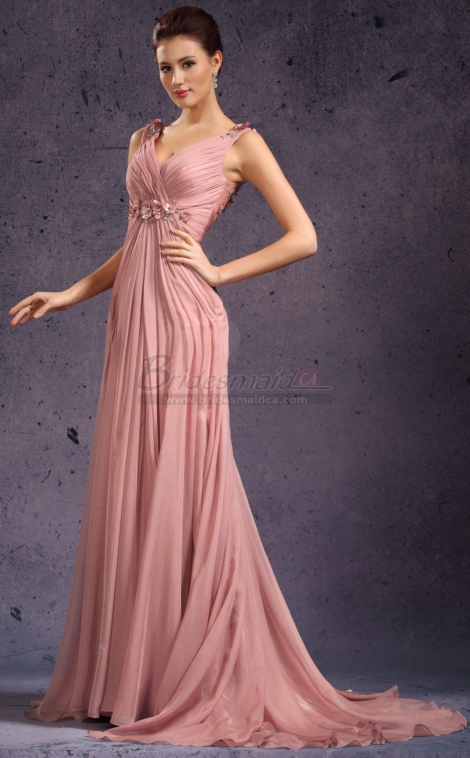 V Neck Chiffon Nude Pink Long Sheath Empire Waist Bridesmaid Dress ...