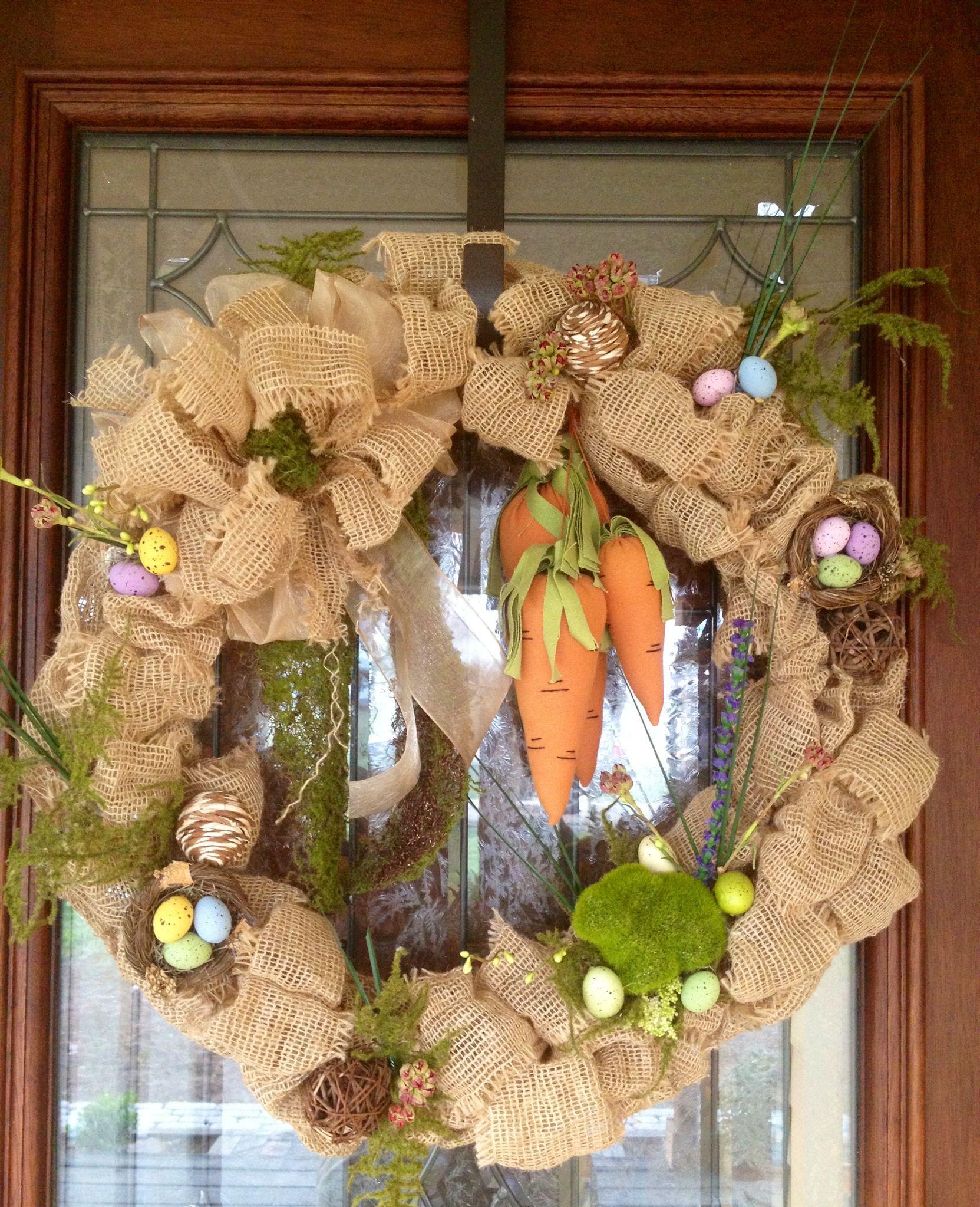 Spring Easter Burlap Front Door Wreath Burlap Wreaths