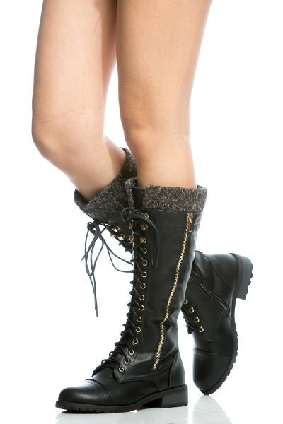 Black Faux Leather Lace Up Calf Length Boots | Boots | Boots