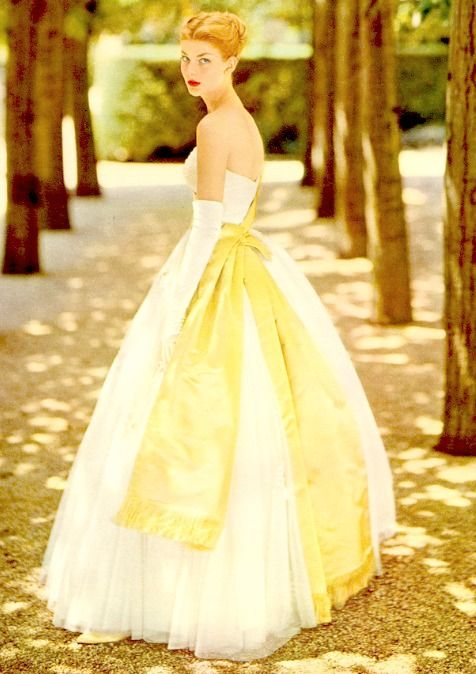 1950s yellow sash evening gown