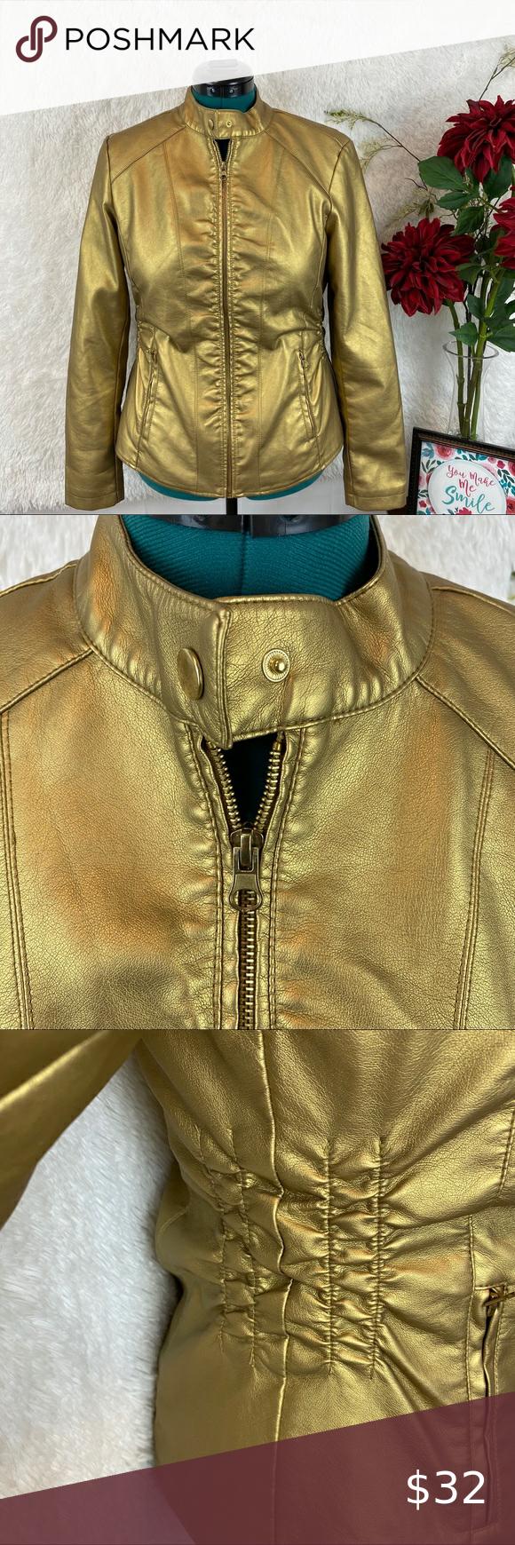Baccini Unique Gold Flaux Leather Jacket Size M Baccini Unique Gold Flaux Leather J Black Faux Fur Jacket Faux Leather Jacket Women Leather Jackets Women [ 1740 x 580 Pixel ]