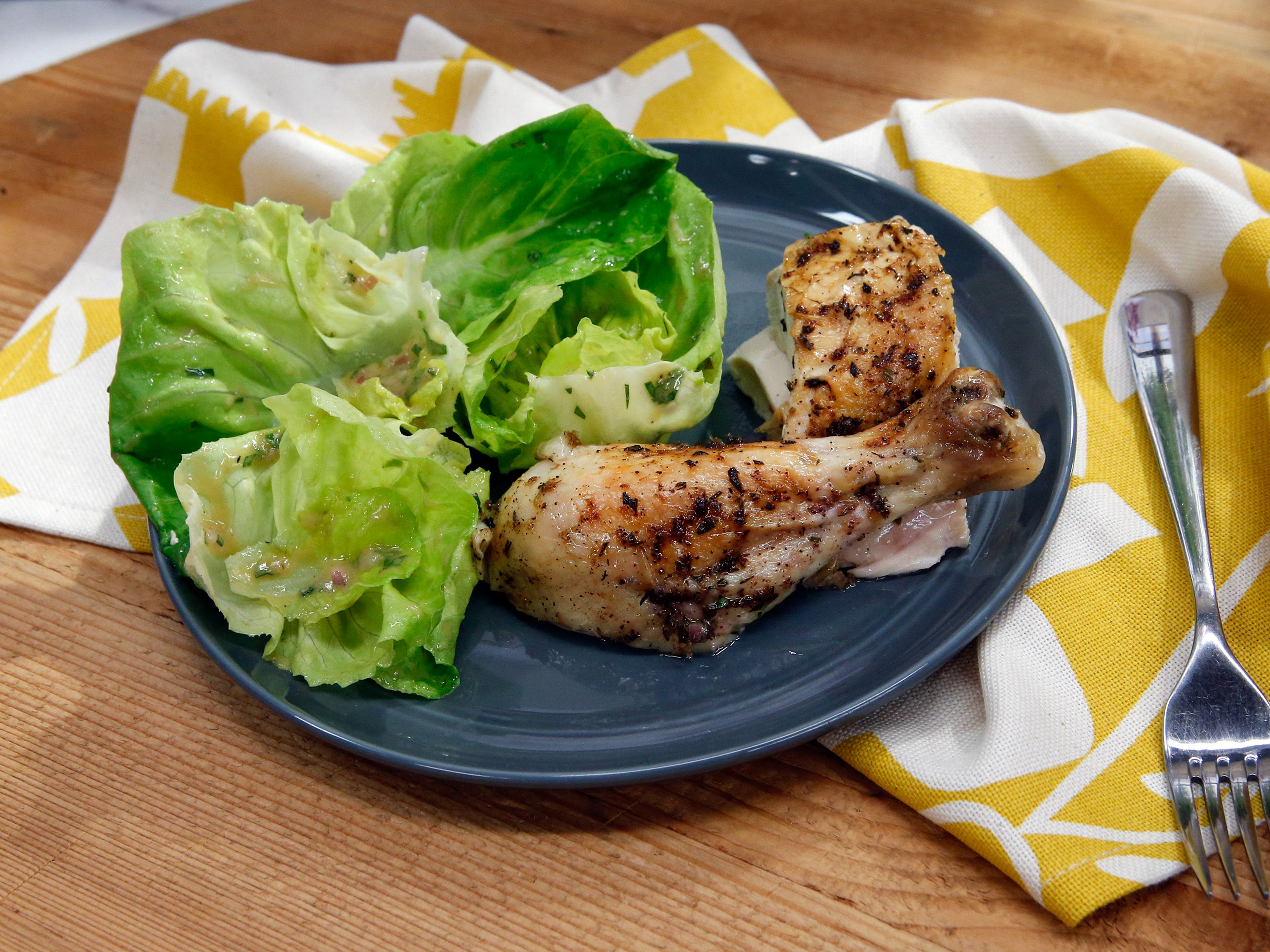 Roasted chicken with bibb lettuce and roasted chicken vinaigrette roasted chicken with bibb lettuce and roasted chicken vinaigrette recipe geoffrey zakarian vinaigrette and lettuce forumfinder Images