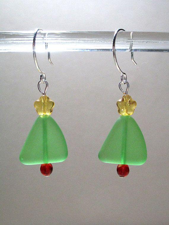 Christmas Earrings Sea Glass Earrings by ItsaColorfulLife