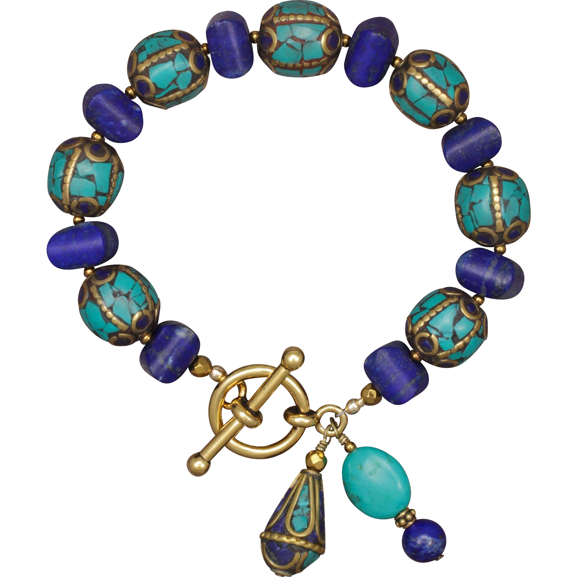 Lapis Lazuli and Turquoise Bracelet with Nepalese Beads | Turquoise ...