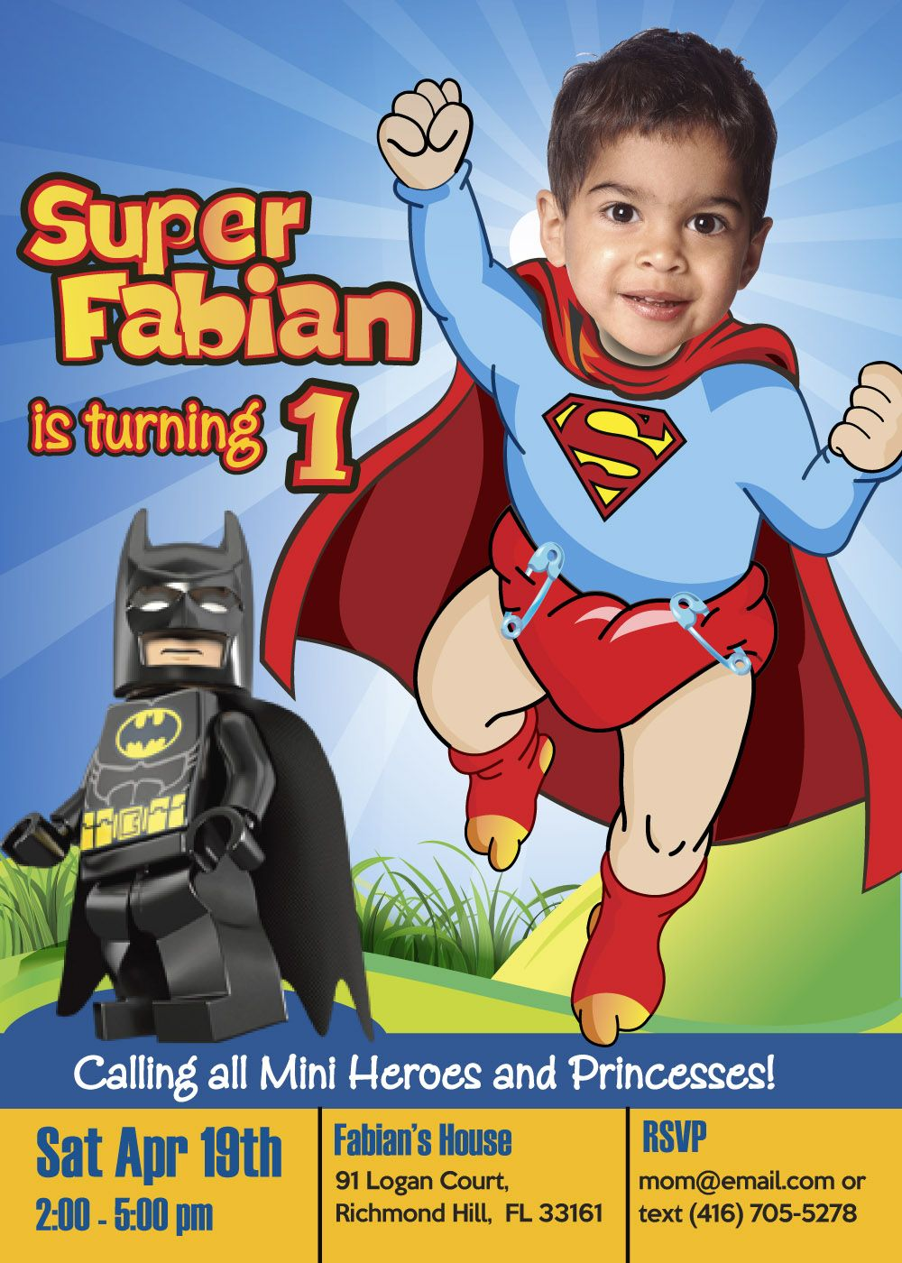Baby Superman Invitation For His 1st Birthday Superboy Party Super