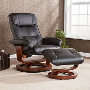 Swivel Chair And Ottoman Sets Black Leather Recliner Swivel