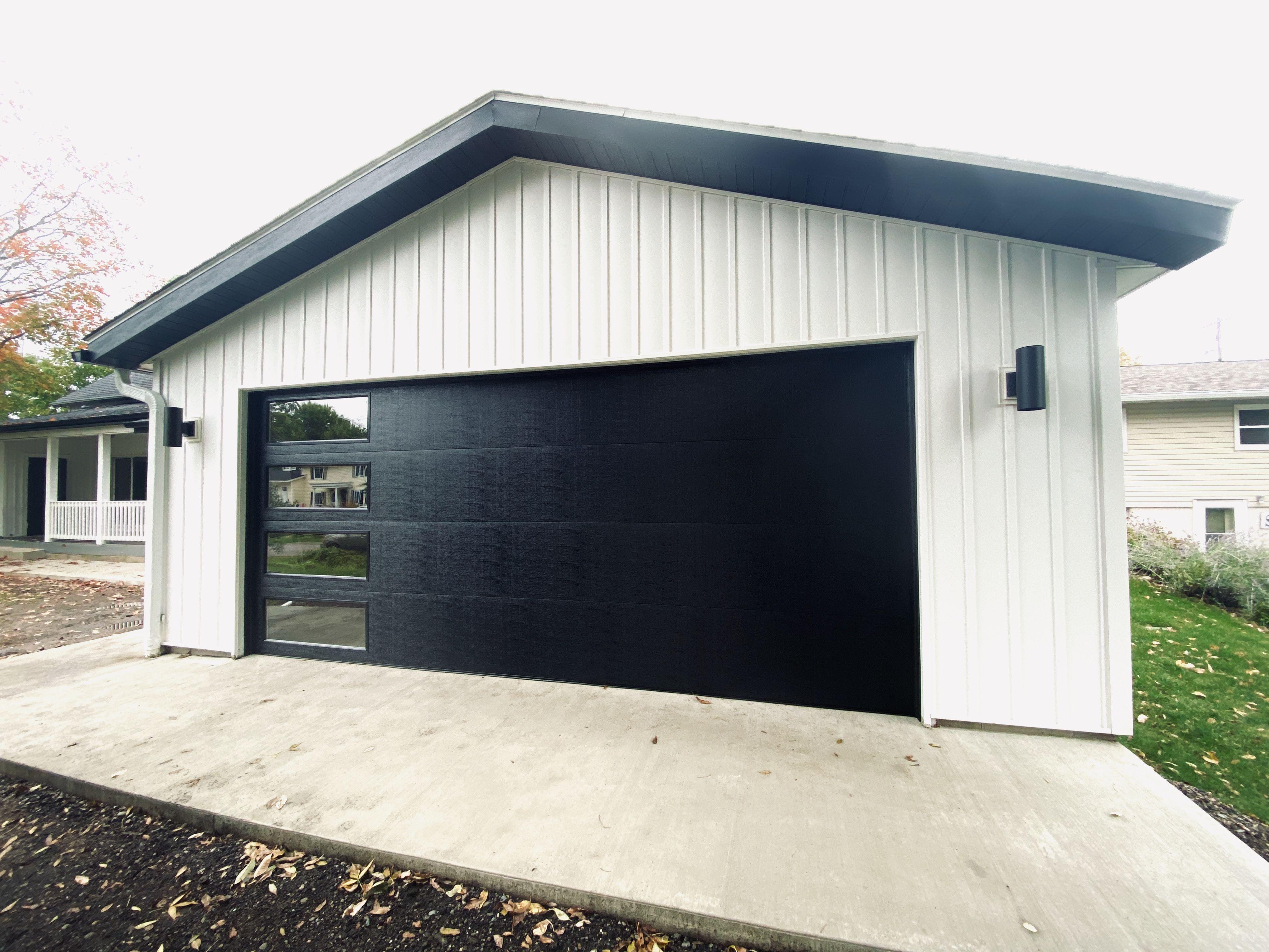 Wayne Dalton Black Garage Door In 2020 Garage Doors Black Garage Doors Grey Garage Doors