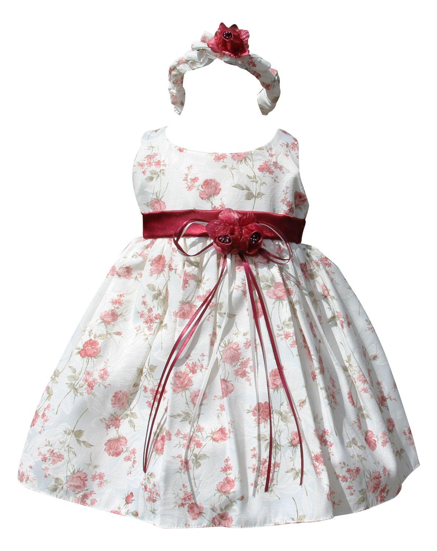 Bimaro Kleid Baby Madchen Babykleid Emma Creme Beige Blumen Rot Taufkleid Festlich Baumwollmischung Hochzeit Taufe Babies Bab Kleid Baby Babykleidung Taufkleid