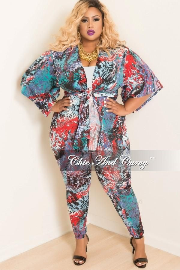 541eefcd37 Plus Size 2 piece Kimono and Pants Set in Multi Color Animal Print – Chic  And Curvy