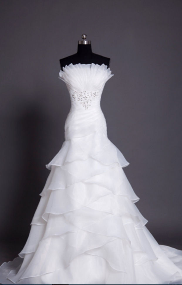 8df3abb07e4d ... Tiered Ruffles And Bead Embellishment. Strapless Ruched Beaded White  Organza Mermaid Wedding Dress