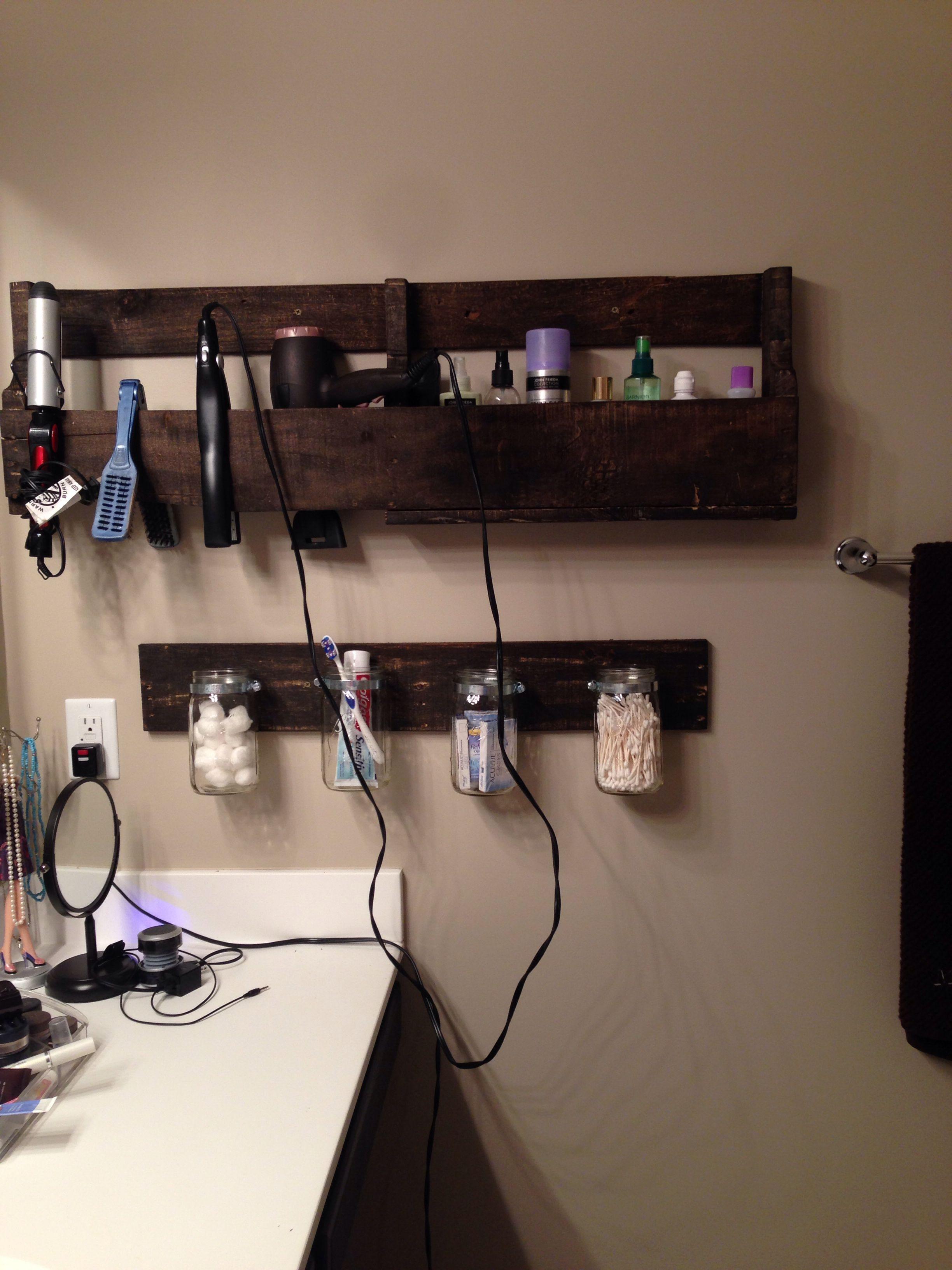 My new bathroom pallet shelves moms stuff pinterest pallet
