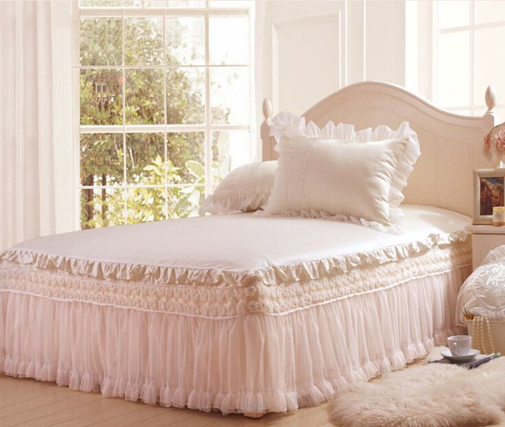 haute qualit blanc ensembles de literie de dentelle coton cor enne princesse jupe de lit. Black Bedroom Furniture Sets. Home Design Ideas