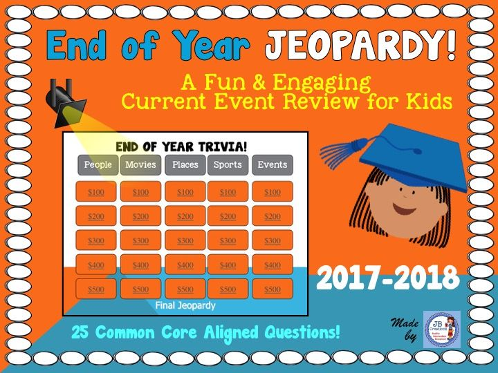 End of Year 2019 Interactive Trivia Jeopardy Game (3rd6th