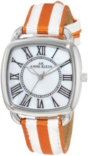Anne Klein Women's 10/9903MPOR Silver-Tone Orange And White Grosgrain Strap Watch Anne Klein. Save 25 Off!. $41.49. Polished silver-tone, slightly curved edge square, 33mm wide case. Genuine mother-of-pearl dial with black printed roman numeral markers at all hours and printed inner minute track. Orange and white striped grosgrain strap, stitched and padded. Luminous filled silver-tone hour, minute hands; stick second hand. Nubuck lining and silver-tone buckle