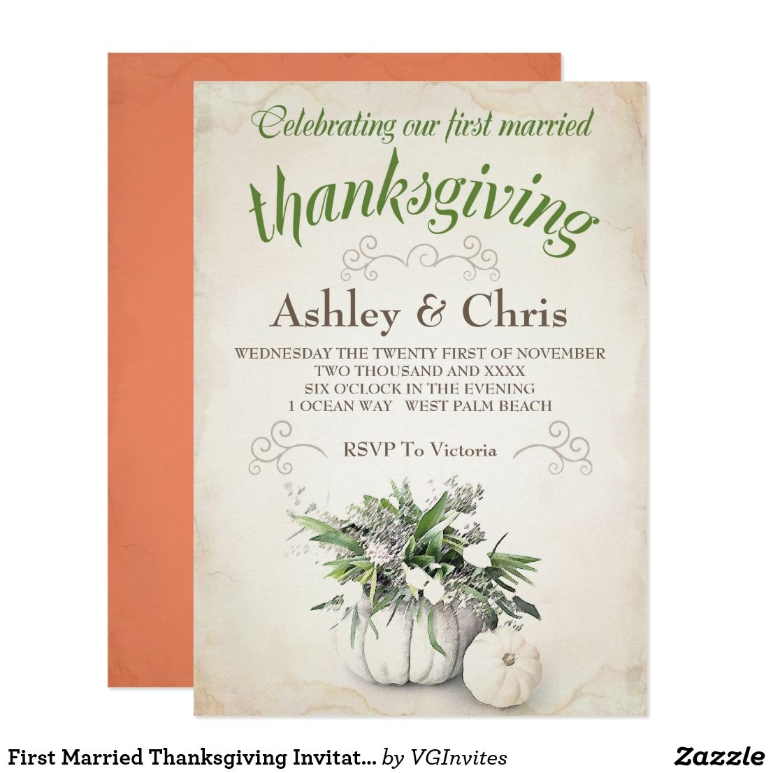 first married thanksgiving invitation this pretty invitation is the