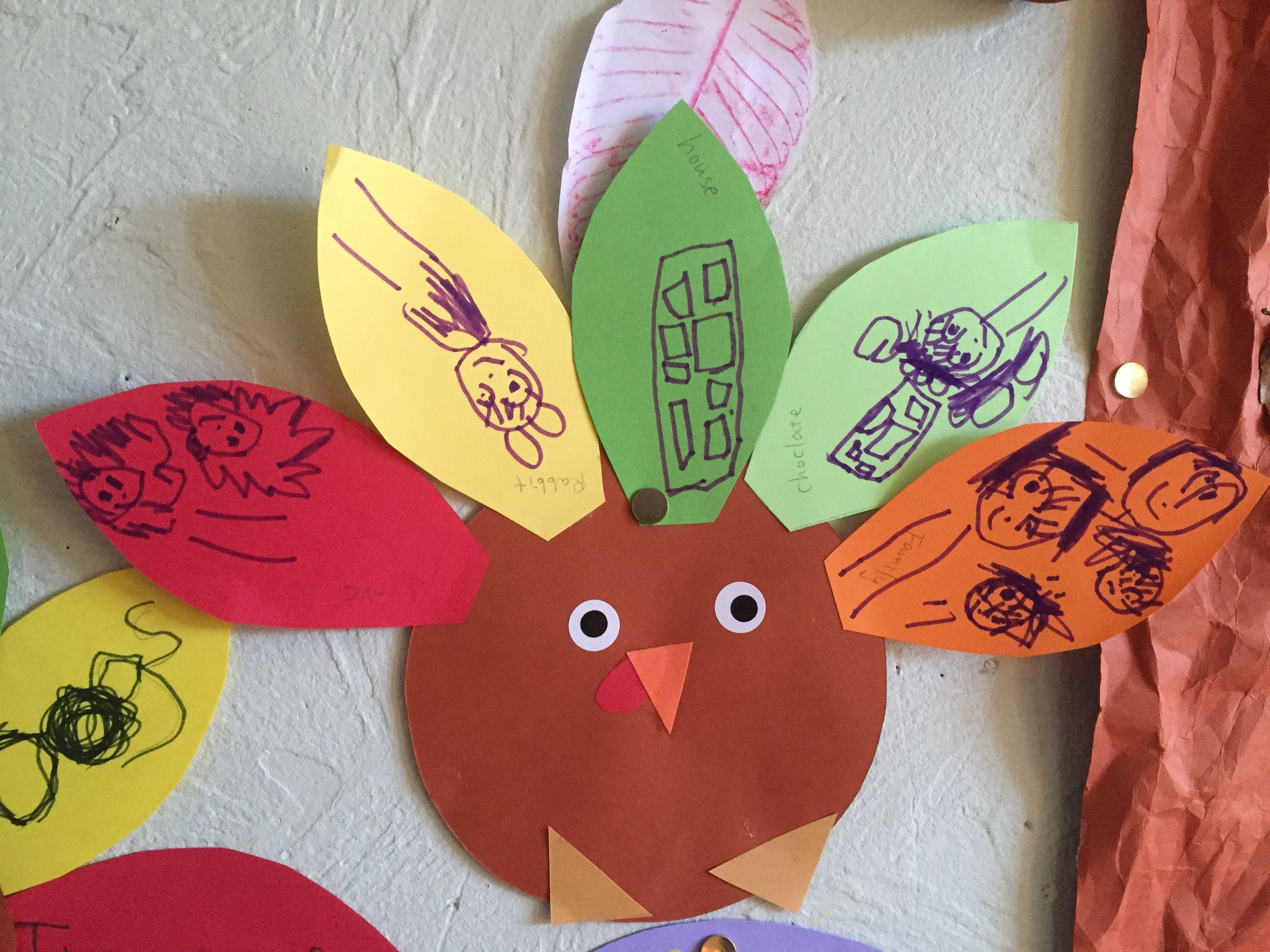 Thanksgiving craft - turkey with 5 things that the person is thankful for. Pictures not writing.