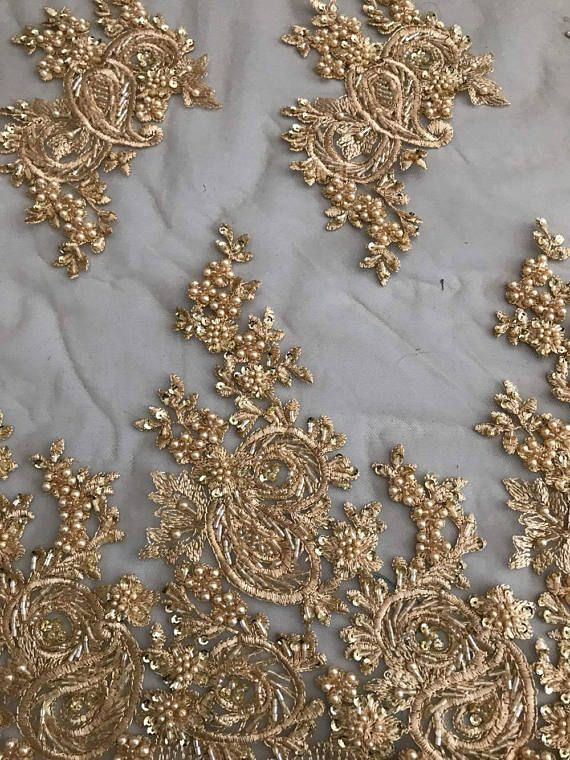 Lace Fabric Luxury Gold Heavy Beaded Lace Fabric  2eb5319c5b6d