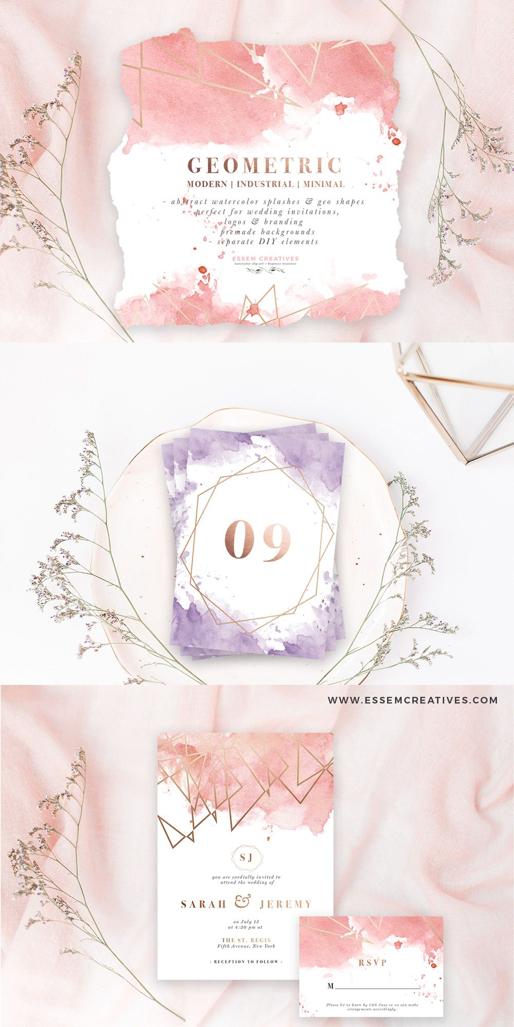 Diy Geometric Watercolor Wedding Invitation Backgrounds Clipart
