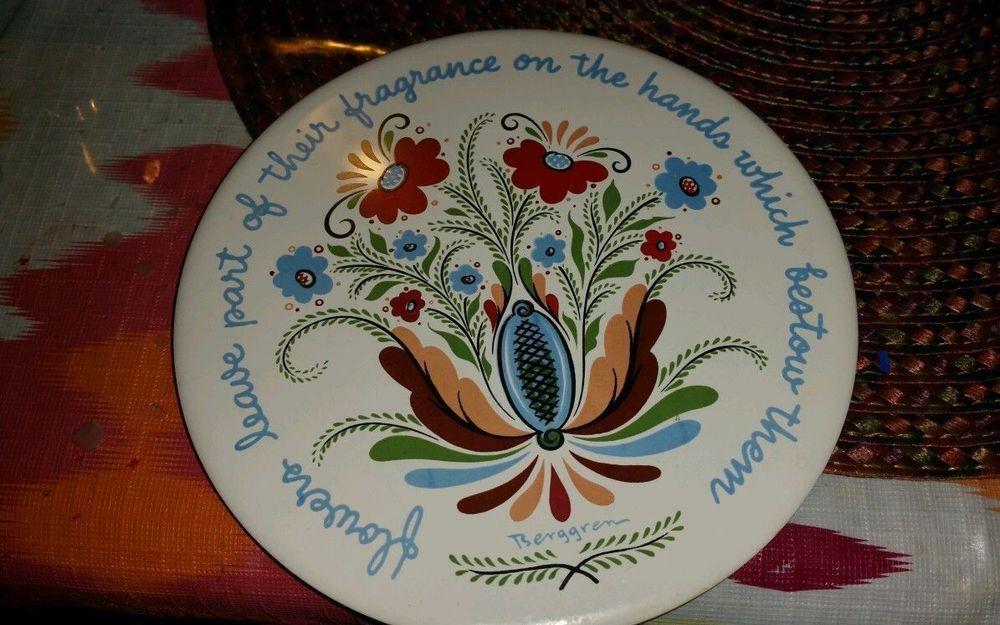Vintage Berggren Rosemaling Round Tile Trivet Swedish Folk Art design 188 Flower #BerggrenOriginals
