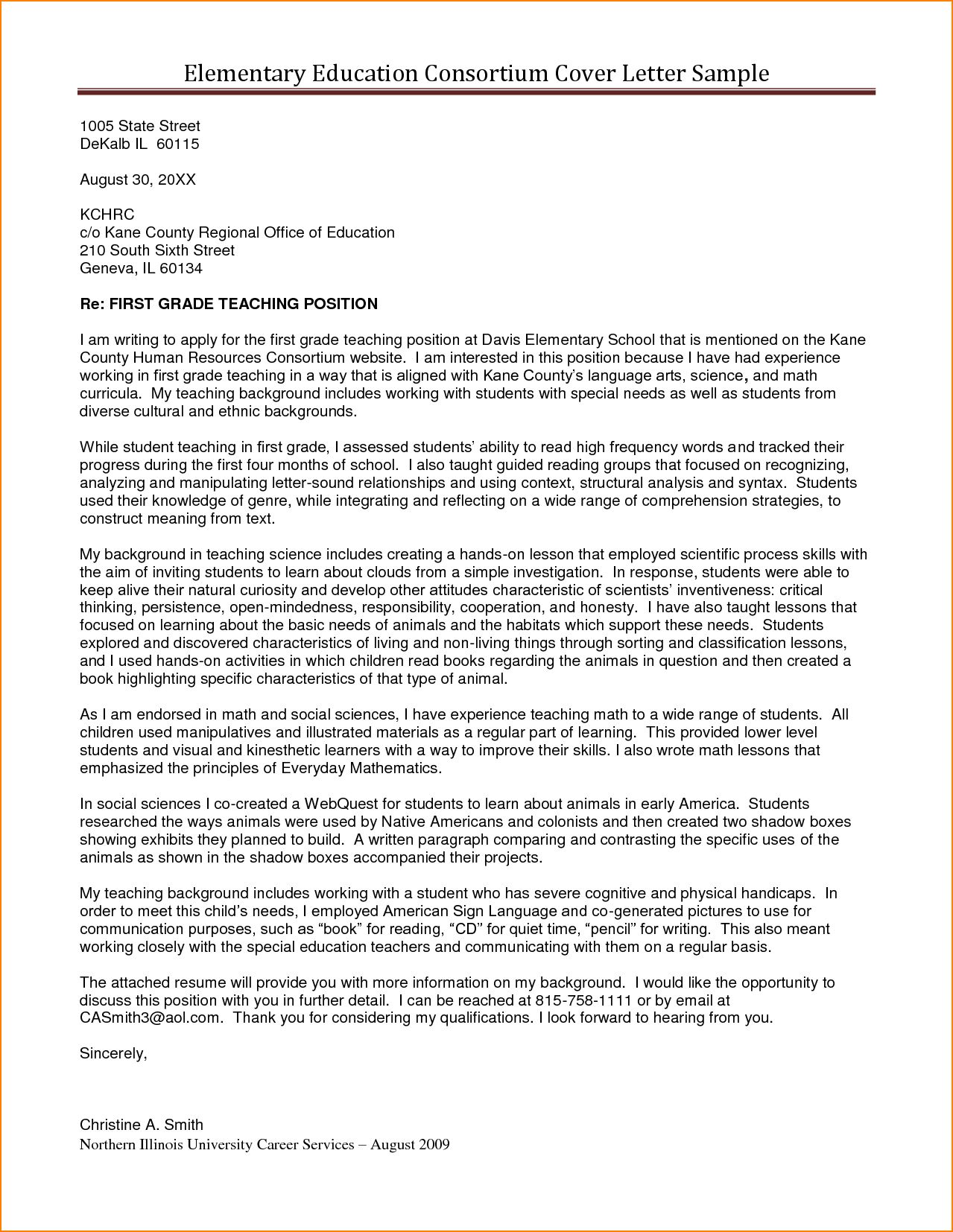Cover Letter Template Higher Education | Teaching cover ...