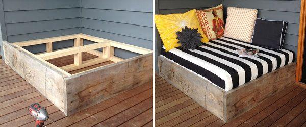 terrassendielen außenbett selber bauen holzbalken paletten | Balkon ...