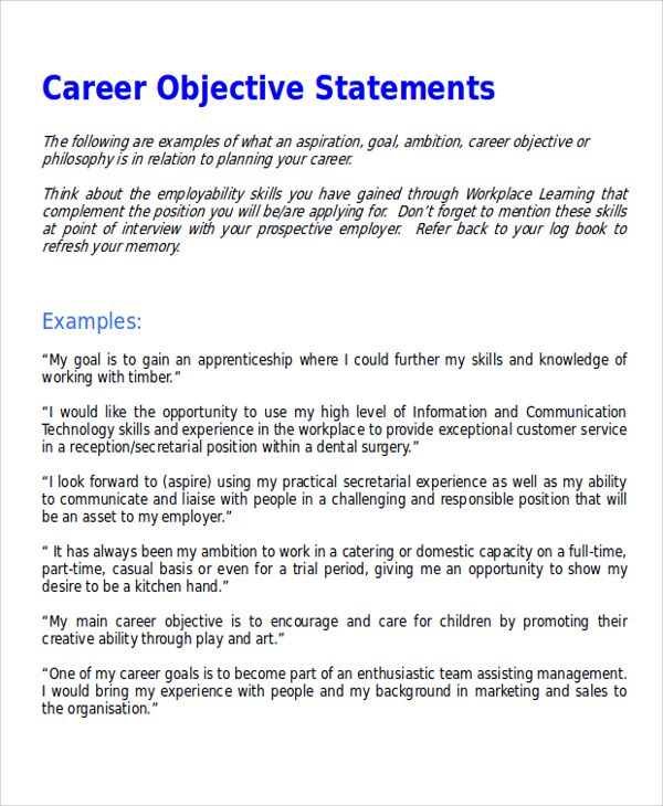 Sample Career Objective Statement Examples Word Pdf Cover Letter Example  Resume Free  Objective Examples For Resumes