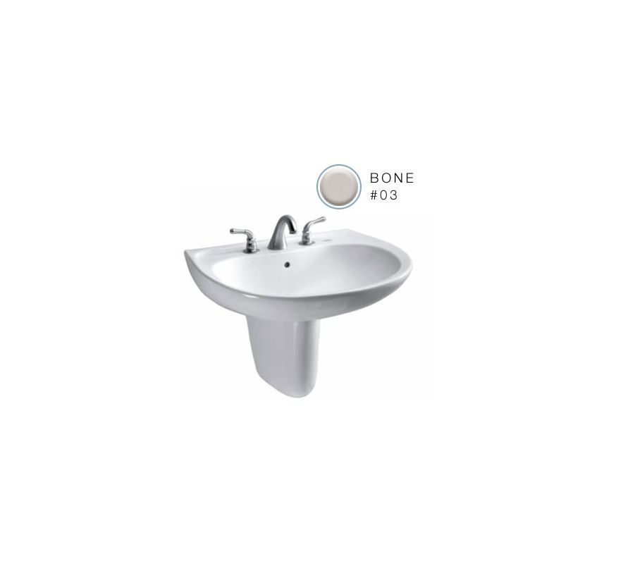"""Toto LHT242.4G Prominence 26"""" Wall Mounted Bathroom Sink with 3 Faucet Holes Dri Bone Fixture Lavatory Sink Vitreous China"""